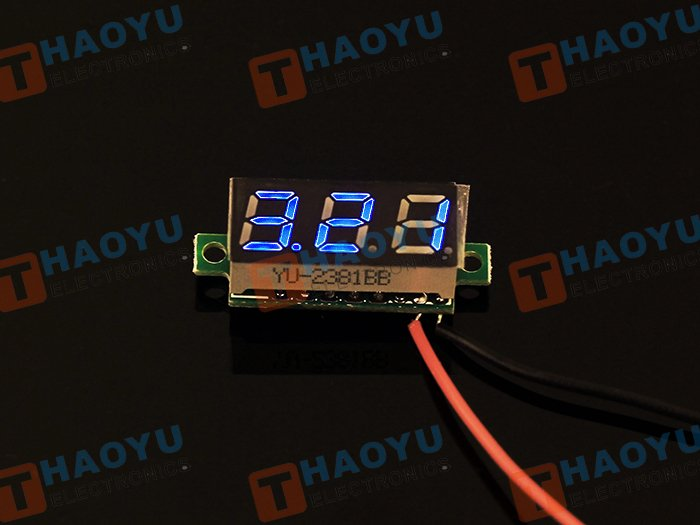 0.28 inch LED digital DC voltmeter - Blue - Click Image to Close