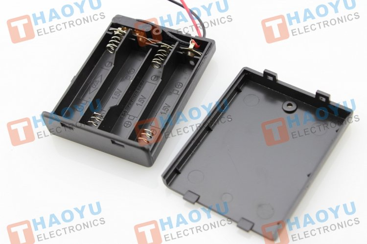 Battery Holder With Switch - 4 x AAA - Click Image to Close